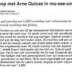 Workshop met Arne Quinze in mu-zee-um